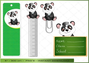 Back to School Clipart / Bookmarks / Rulers / Paperclips
