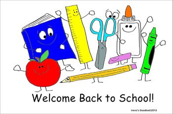 FREEBIE - Back to School Clipart- Irene's Doodles - Smiling School Supplies