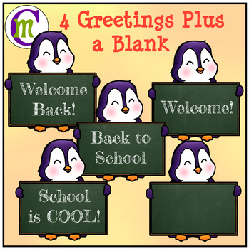 Back to School Clipart Penguins Holding Signs