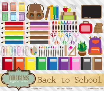 Back to School Clipart, Stationery Art Supplies, Clip Art Vectors