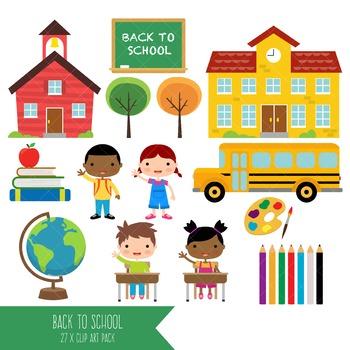 Back to School Clipart / Teacher / Schoolhouse / Chalkboard