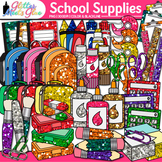 Back to School Supplies Clip Art Bundle {Notebook, Marker, Pencil, Backpack} 1