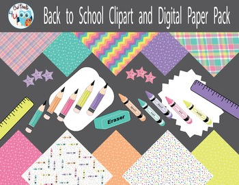 Back to School Clipart and Digital Paper Pack