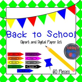 Back to School Clipart and Digital Paper Set