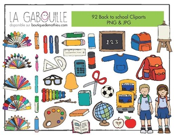 Back to School Cliparts (92 cliparts PNG & JPG!)