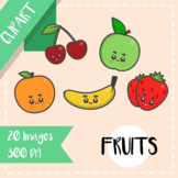 Back to School: Clips Clipart - Kawaii Style (Fruits)