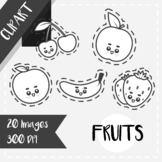 Back to School: Clips Clipart - Kawaii Style (Fruits) [Cut