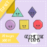 Back to School: Clips Clipart - Kawaii Style (Geometric Forms)