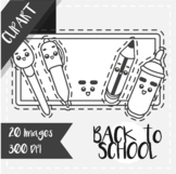 Back to School: Clips Clipart - Kawaii Style (School Objec