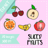 Back to School: Clips Clipart - Kawaii Style (Sliced Fruits)