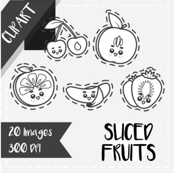 Back to School: Clips Clipart - Kawaii Style (Sliced Fruits) [Cutouts version]