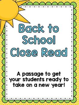 Back to School Close Read