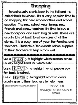 Back to School Close Reading * FREEBIE *