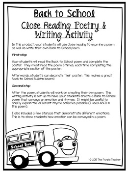 Back to School Close Reading Poetry and Writing Activity