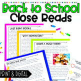 Back to School Close Reads