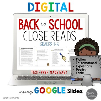 Back to School Close Reads for Google Slides Common Core Aligned