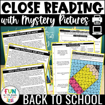 Close Reading Comprehension w/ Mystery Picture Activity {School Themed}
