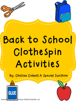 Back to School Clothespin Activities