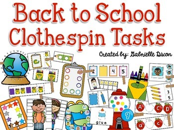Back to School Clothespin Tasks