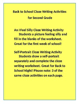 Back to School Cloze Writing Activities for Second Grade