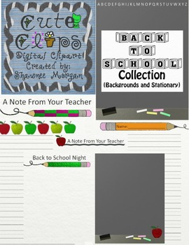 Back to School Backgrounds/Stationery Collection [Cute Clips Digital Clip Art]