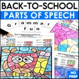 Back to School Activities Grammar Color By Code Parts of Speech