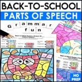Back to School Activities Color By Code Parts of Speech