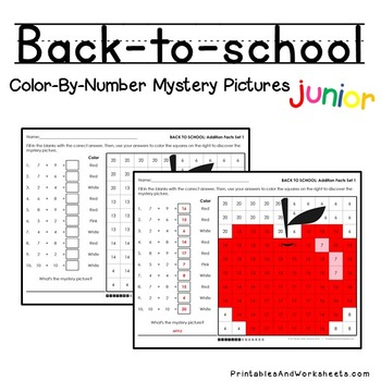 Back-to-School Color-By-Number: Addition (K-2)