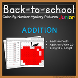 First Grade Math, Back To School Color-By-Number Addition (K-2) Mystery Pictures