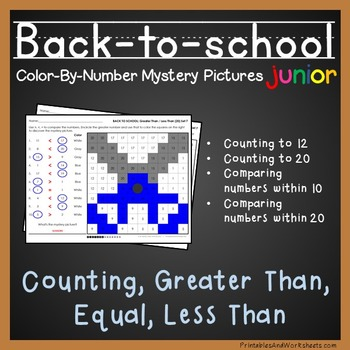 Back-to-School Color-By-Number: Counting/Comparing to 20 (K-2)