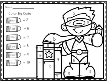 Back to School Color-By-Number Number Identification