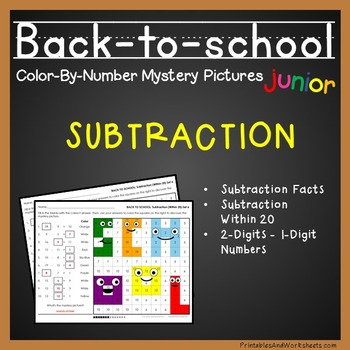 Back-to-School Color-By-Number: Subtraction (K-2)