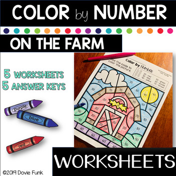 Color By Number Worksheets - Color Words Number Recognition - Farm Fun