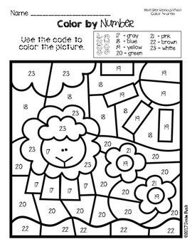 Farm Color By Number Worksheets - Color Words Number Recognition