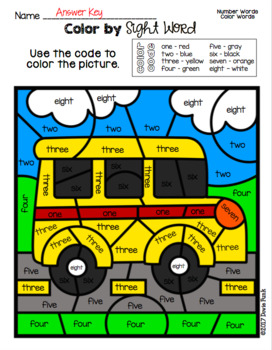 Color By Sight Word Back to School Worksheets Morning Work