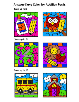 Back to School Color By Subtraction Facts: Minuends up to 10, 15, & 20