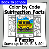 Back to School Color By Subtraction Facts: Minuends up to