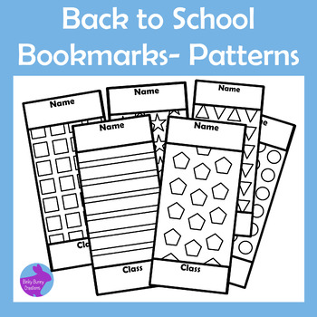 Back to School Color Your Own Bookmarks Patterns Geometric Shapes Library