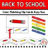 Back-to-School Color Match Clip Cards Busy Box