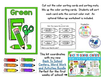 Back to School Color Sort FREEBIE!