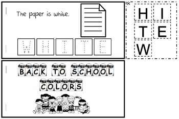 Back to School Color Words Book