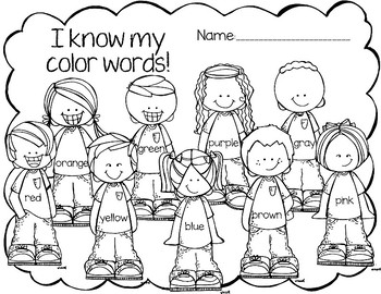 Back to School Color Words