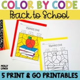 Back to School Color by Code
