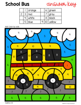 Color by Code Back to School Addition and Subtraction