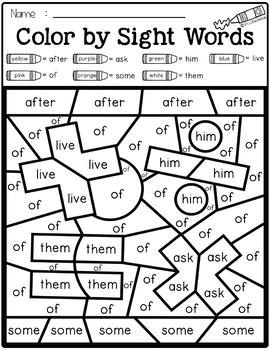 Back to School Color by Code -Sight Words First Grade