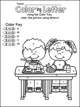 Back to School Color by Letter Worksheets