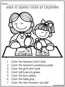 Back to School Color by Listening (A Following Directions Activity)