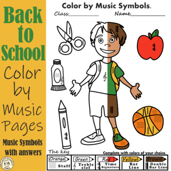 Back  to School Color by Music Symbol