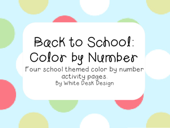 Back to School: Color by Number