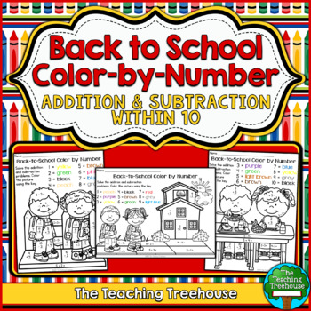 Back to School Color by Number ~ Addition & Subtraction Within 10